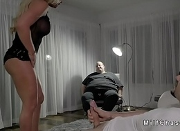 Wife sucks huge dick in front of husband