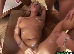 Italian MILF blowjob and bukkake