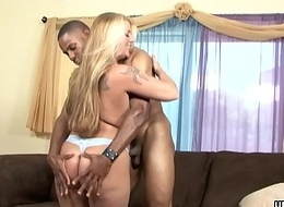 Bulky blonde gets her hairy twat destroyed by a BBC